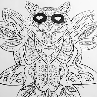 Black and white ink drawing of a candy skull owl