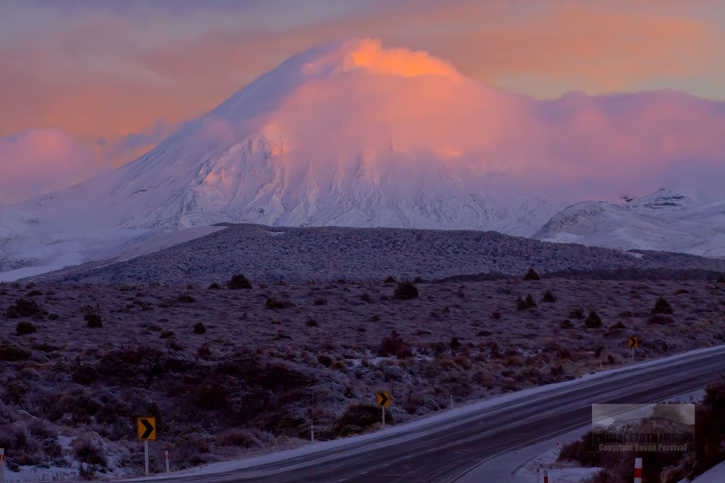 Mount Ngauruhoe - Clearing Snow Storm at Sunrise - Tongariro National Park New Zealand