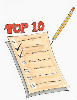 Top Ten List with Pencil
