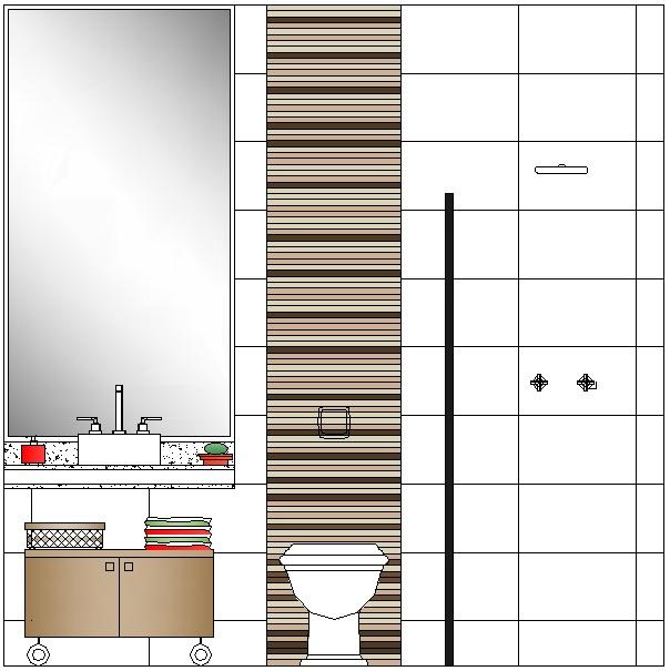Casa do Renato e da Gi Projeto dos Pisos e Revestimentos -> Banheiro Com Pastilha Atras Do Vaso Sanitario