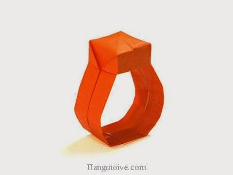 Cách gấp, xếp cái Nhẫn có mặt bằng giấy origami - Video hướng dẫn xếp hình đồ thời trang - How to fold a Ring