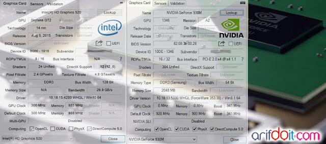 Detail GPU-Z VGA Intel HD 520 & Nvidia Geforce GT930M