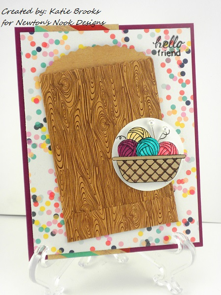Basket of Yarn card by Katie Brooks for Newton's Nook Designs
