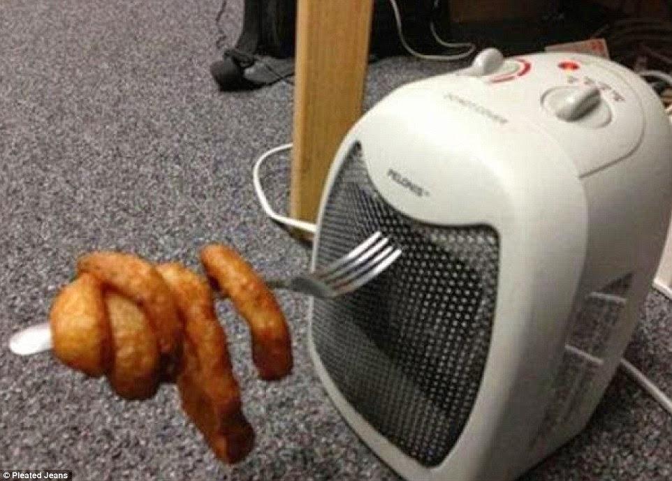تسخين الطعام بواسطة دفاية