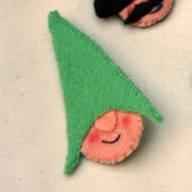 green Felt Gnome Brooch