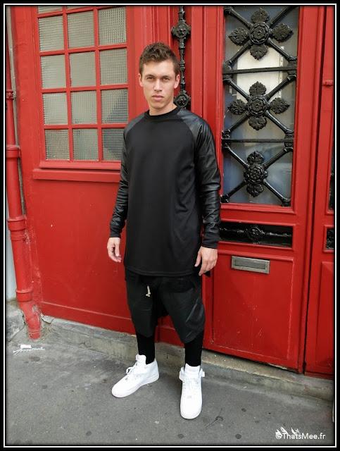Michel Style de la semaine sweat bi-matière cuir Adyn UK pantalon-legging homme Barbara Gongini, short homme Rick Owens baskets Nike sneakers blanches