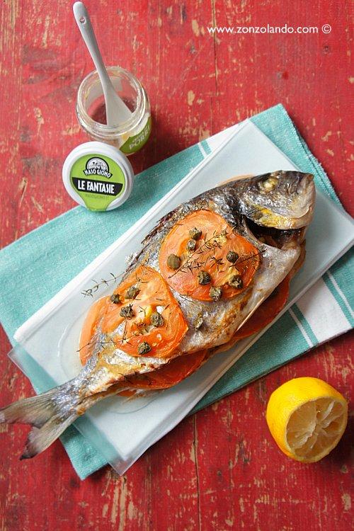 Pesce Orata al forno ricetta semplice e light con pomodoro e porri - Baked Sea bream recipe