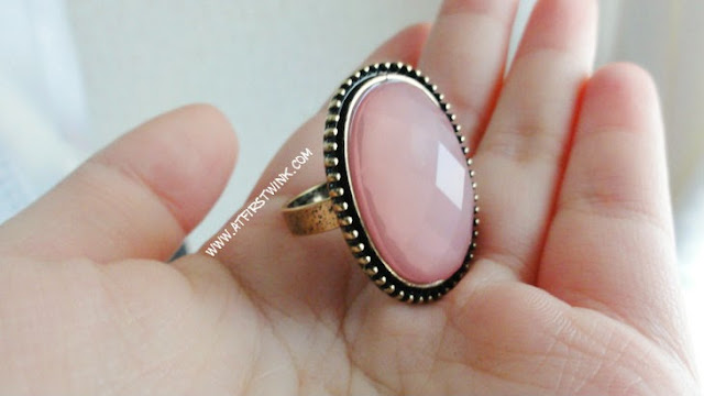 New Look ring with large pink gem stone