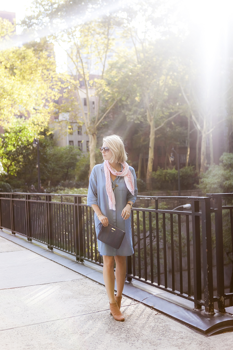 Sunshine at golden hour, messy blond hair bob, chambray shirtdress, late summer style, Rachel Comey Mars boots
