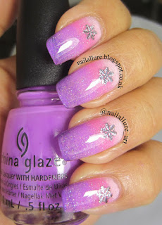 Snowflake Charms on a Pink Purple Gradient Manicure