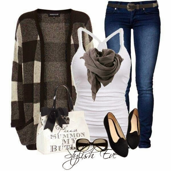 Dark and grey cardigan, grey scarf, white blouse, jeans and slippers for fall