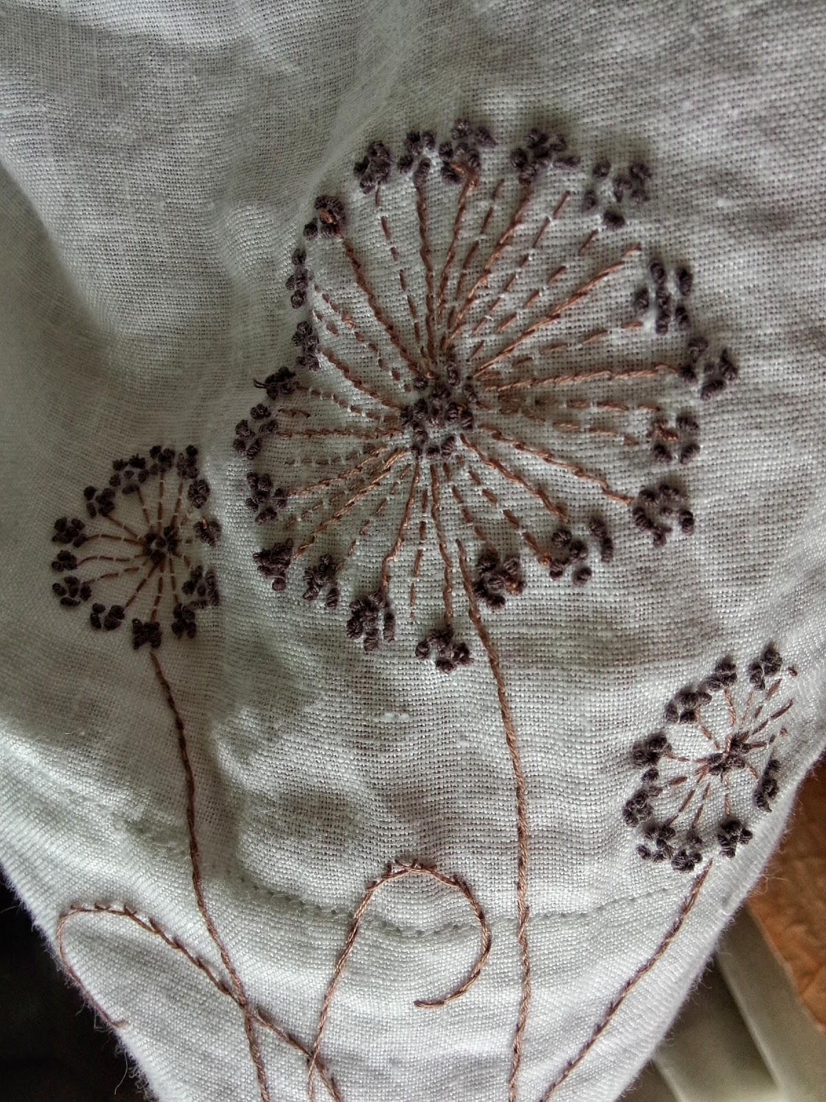 Вышивка одуванчики на платье 83