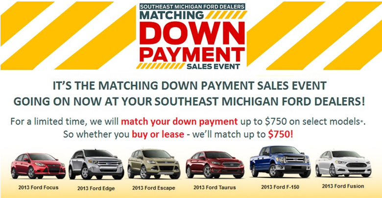 Ford Matching Down Payment Sales Event