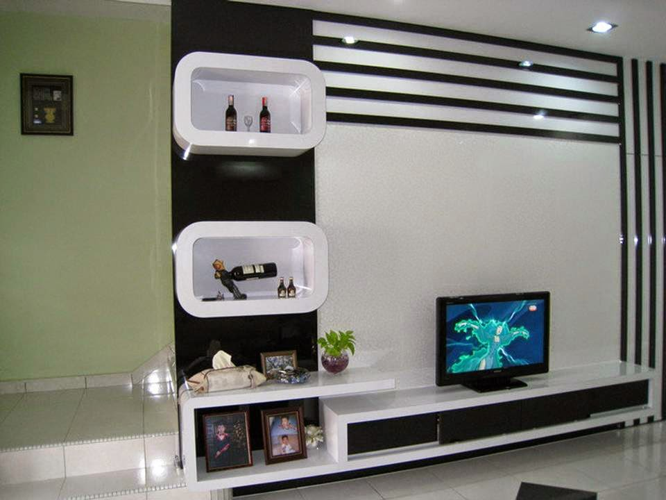 Black white tv cabinet designs ideas decor units for Modern tv unit design ideas