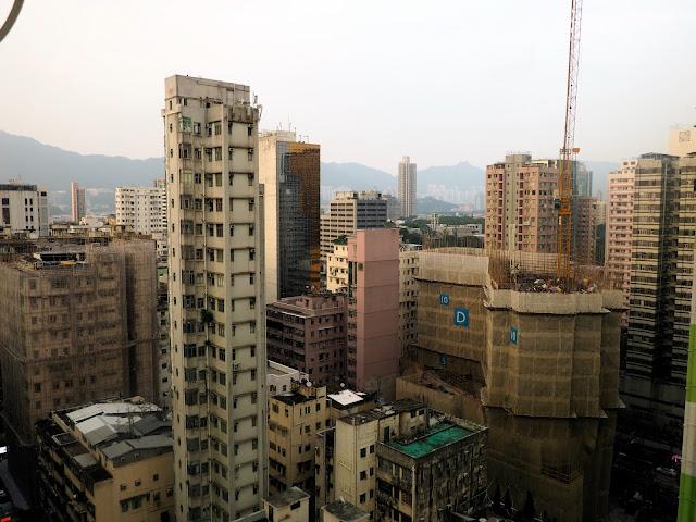 View of skyscraper buildings in Mong Kok, Kowloon, Hong Kong