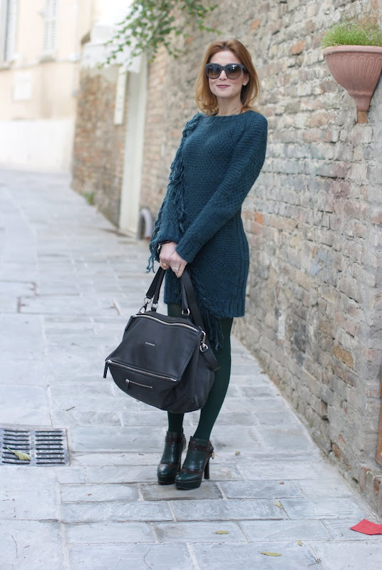 Givenchy Pandora bag, Diesel fringe detail jumper dress, Fabi shoes, Fashion and Cookies
