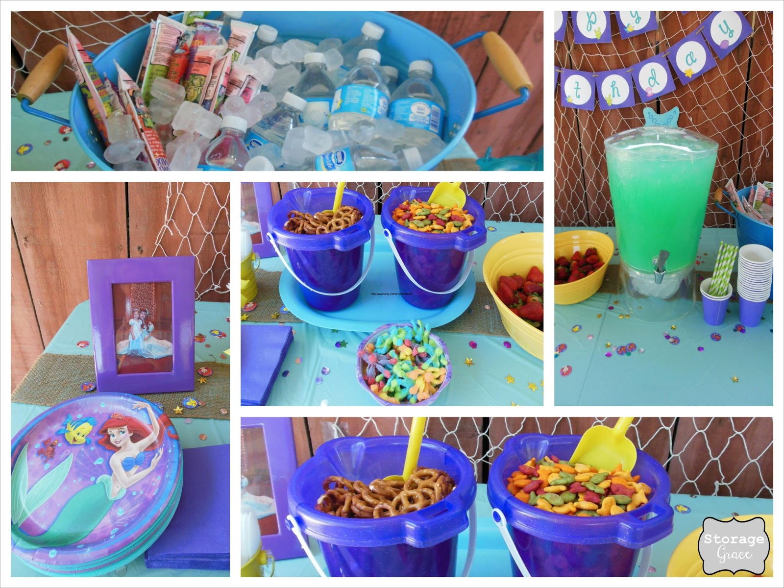 Storage grace little mermaid 4th birthday party for Ariel birthday party decoration ideas
