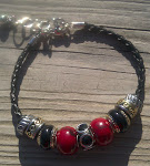 Red Jasper & Black - Custom Designed Bracelet