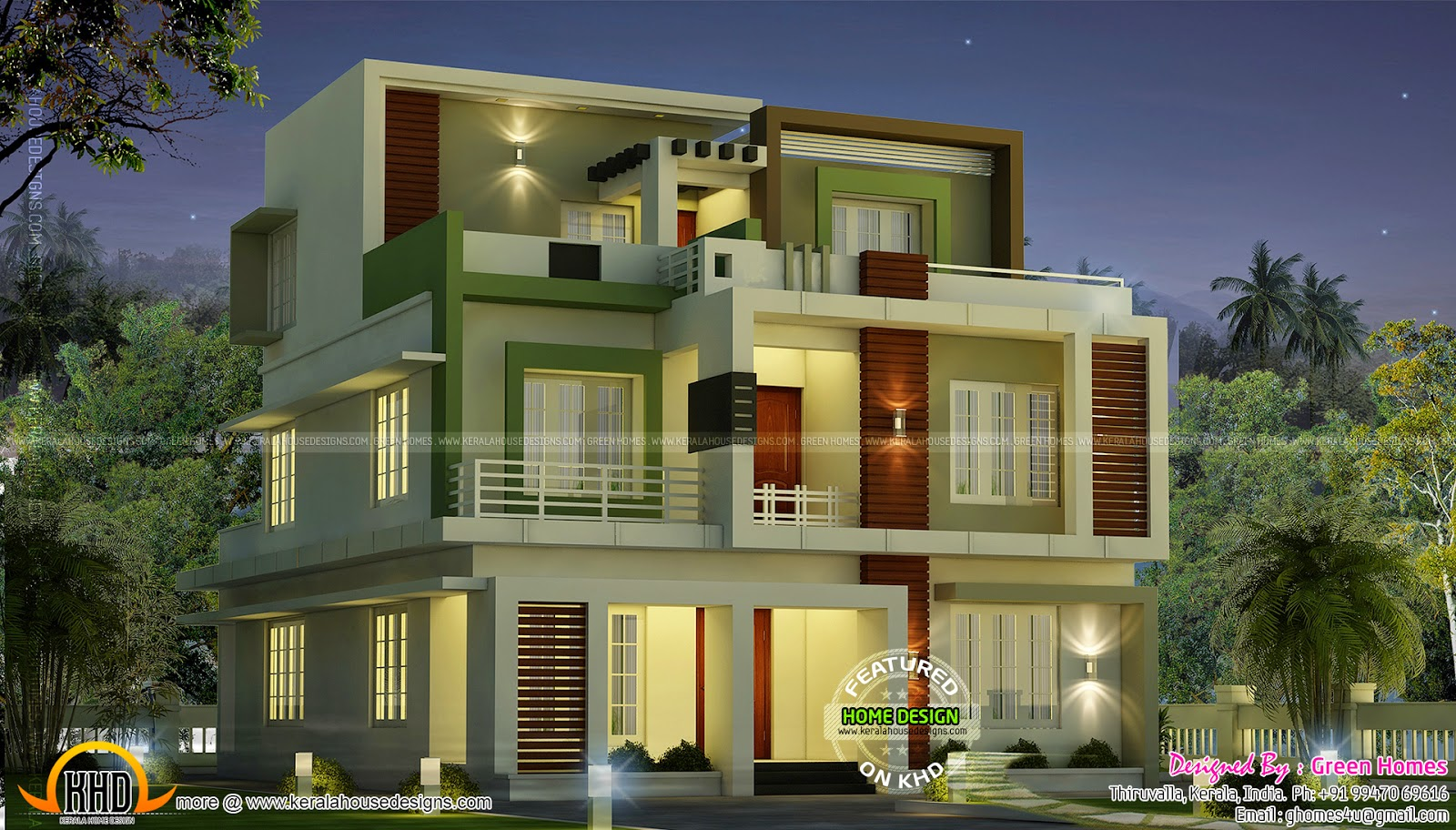 3 storied modern house with awesome look kerala home for 2nd floor house front design