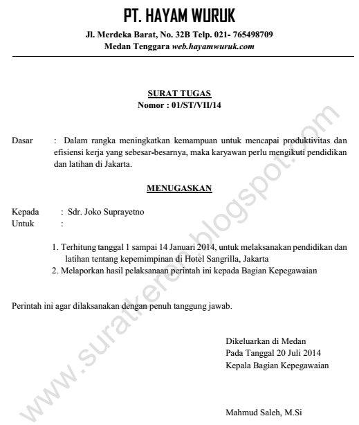 Surat Tugas Diklat