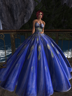 pretty blue gown with a HUGE skirt!