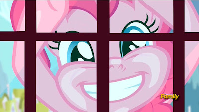 Pinkie Pie at the window of the Carousel Boutique