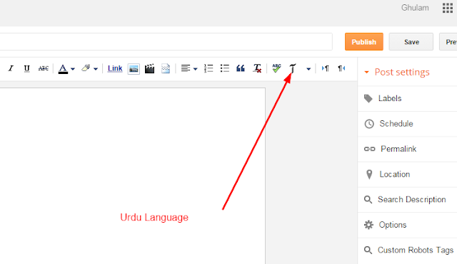 Write Your Post In Your Native Language In Blogger Blog