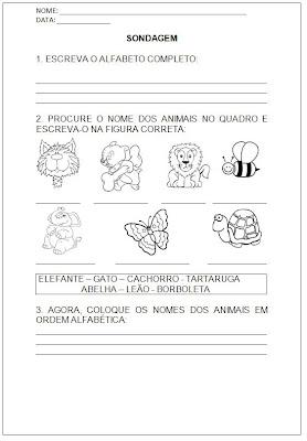 Sondagem Português - Sondagem Língua Portuguesa - Atividade Alfabetização
