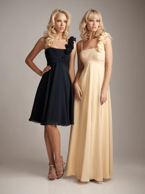 one-shoulder-with-flower-details-black-chiffon-knee-length-bridesmaids-dresses
