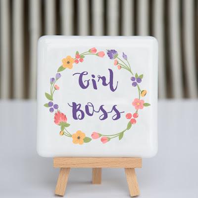 girl boss, fused glass, coaster, fusography, creative entrepreneur, boss lady, motivational quote, desk art