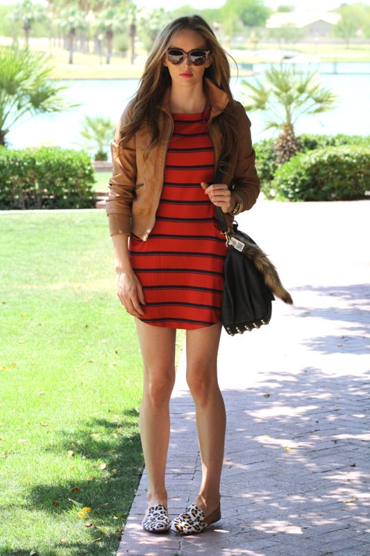 Personal Style Blogger-Golden Divine Blog-Striped Dress-Michael Stars-Yosi Samra-Leopard Loafers-Prada Sunglasses-Ashley Murphy