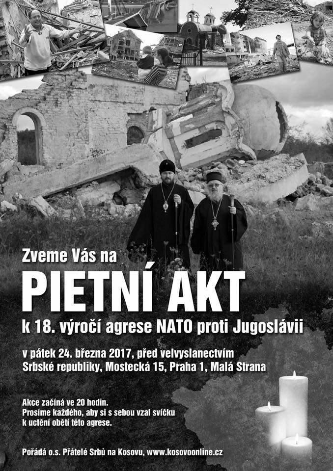 Pozvánka na pietní akt za oběti bombardovací agrese NATO proti Jugoslávii na jaře 1999