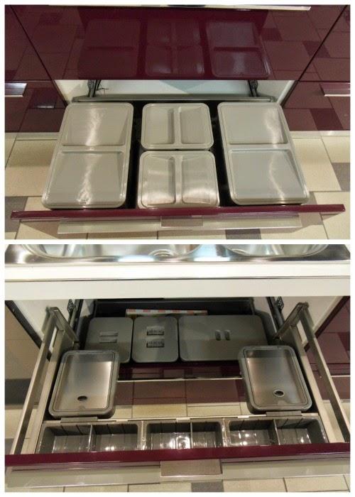 anche lo spazio dei cassetti e delle cassettiere pu essere organizzato in modi diversi a seconda delle necessit per contenere posate utensili