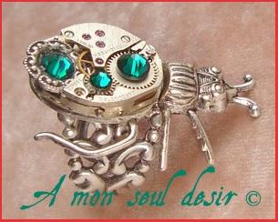 Bague Steampunk Insecte Scarabée Mécanisme Mouvement de Montre Mécanique Beetle Scarab ClockWork Jewelry Watch Work Ring