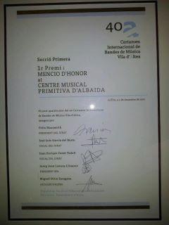 GANADORES DEL CERTAMEN INTERNACIONAL DE BANDAS DE MÚSICA VILLA DE ALTEA 2011
