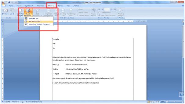 Cara Menggunakan Fitur Mail Merge Di MS. Word 2007 5