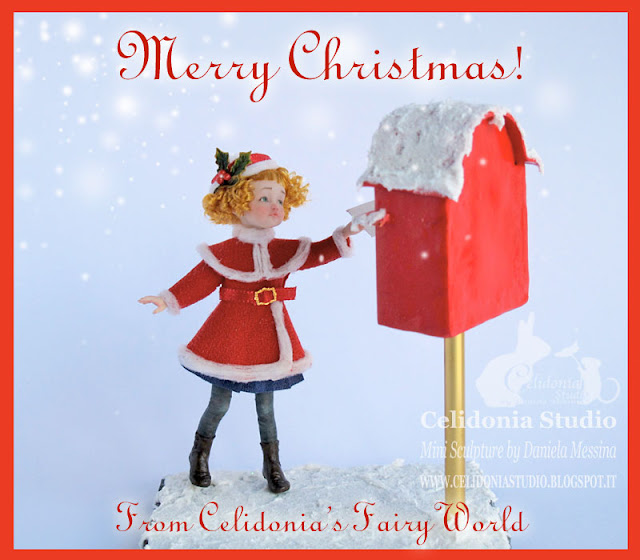 Merry Christmas - OOAK Doll 1/12 in Pasta Sintetica by Celidonia - Daniela Messina