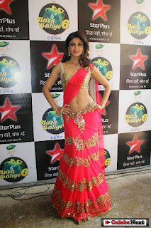 Actress Shilpa Shetty  Pictures in Saree at Nach Baliye Grand Finale  0005