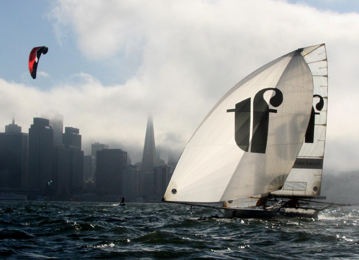 SailRaceWin 18 Foot Skiffs Kiteboard Coxon Winners In
