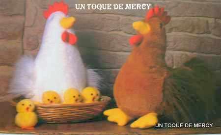 Un toque de mercy: gallina con patrones.....se puede hacer en tela ...