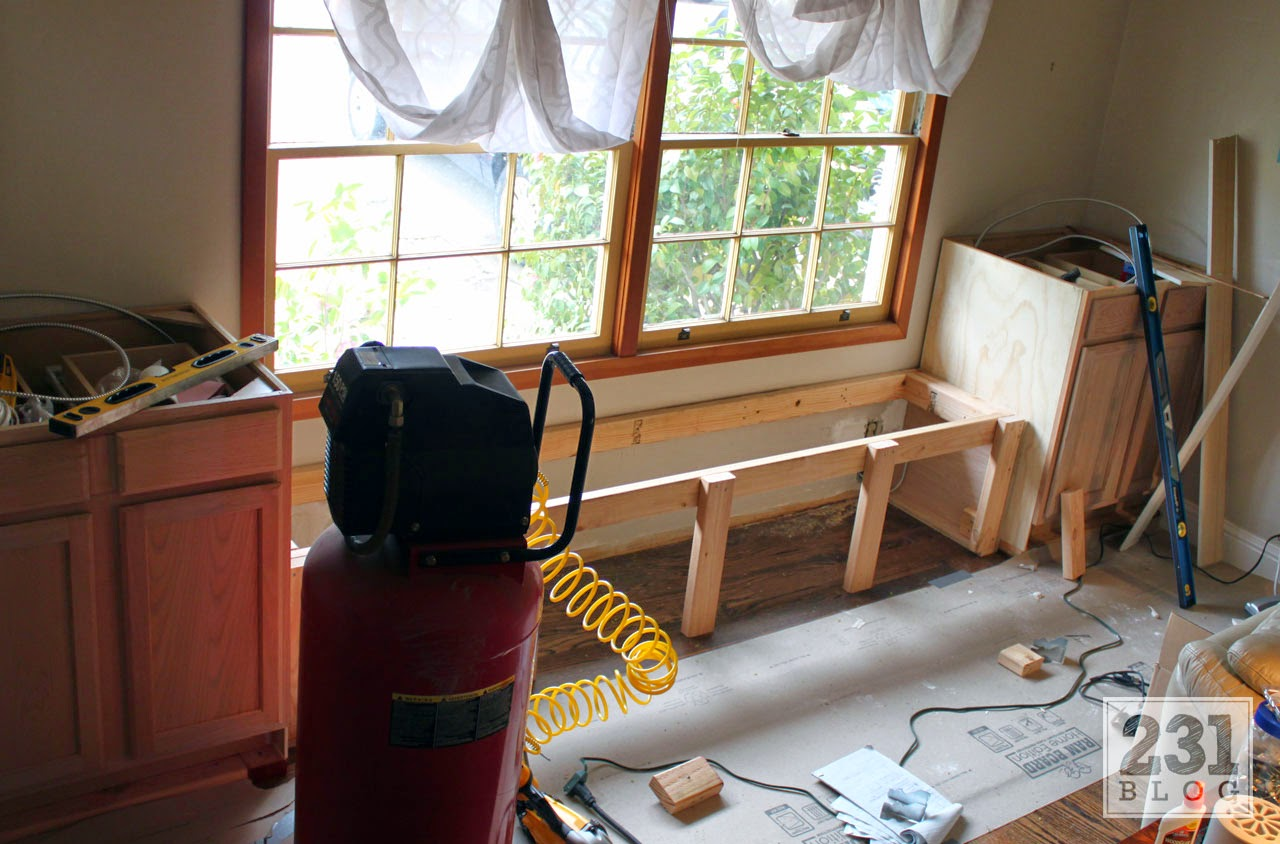 diy window bench framing using lumber