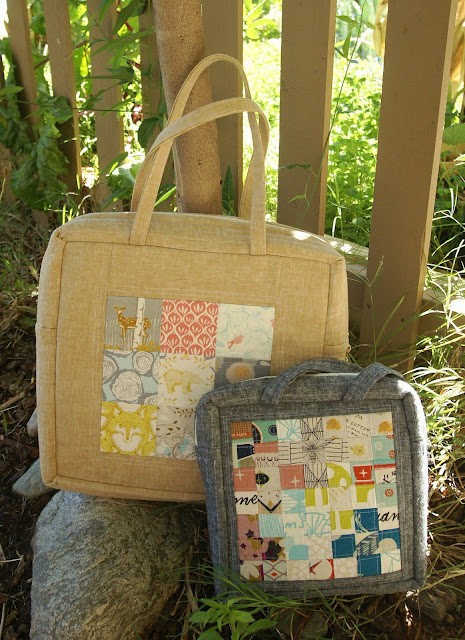Linen and Cotton Mosaic Bags by Fabric Mutt
