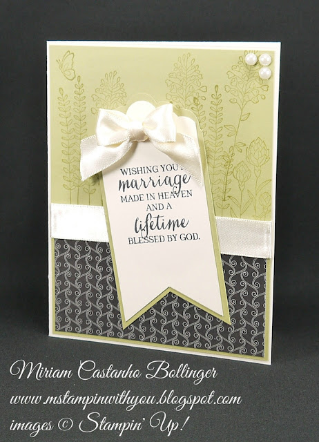 Miriam Castanho Bollinger, #mstampinwithyou, stampin up, demonstrator, mm, wedding card, timeless elegance dsp, rose wonder stamp set, flowering fields, banner triple punch, scalloped edge border punch, su