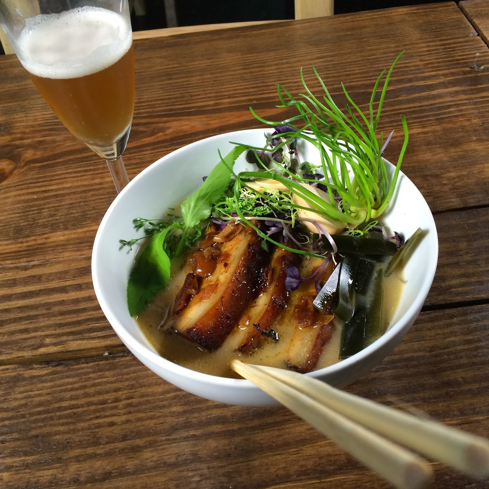 Boneless Pork Rib Ramen: Soy Braised, Miso Broth, Udon Noodles, Pickled Quail Egg and Sprouts.