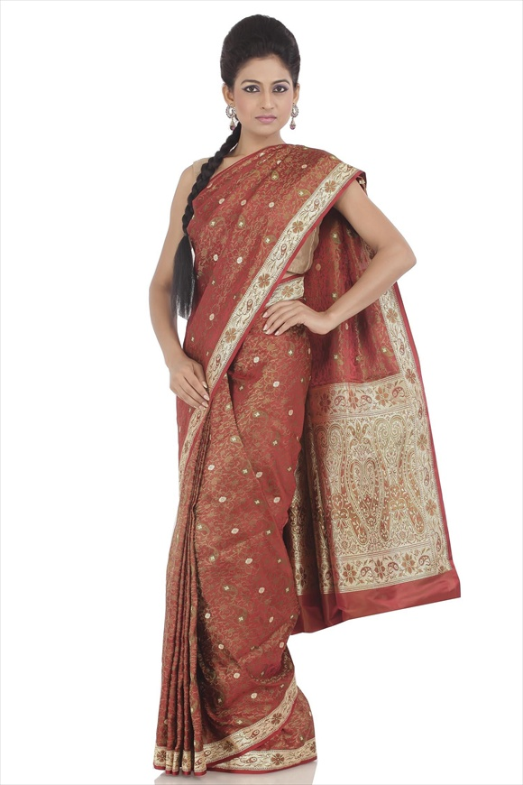 Scarlet Red Satin Banarasi Saree
