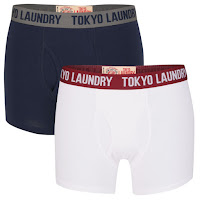 Tokyo Laundry Men's Huck 2-Pack Boxers - White/Charcoal