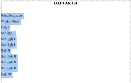 CARA SEDERHANA DAN MUDAH MEMBUAT DAFTAR ISI DI WORD 2007