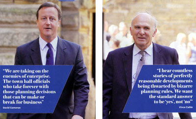 Cameron and Cable attack planning - courtesy of www.planningresource.co.uk