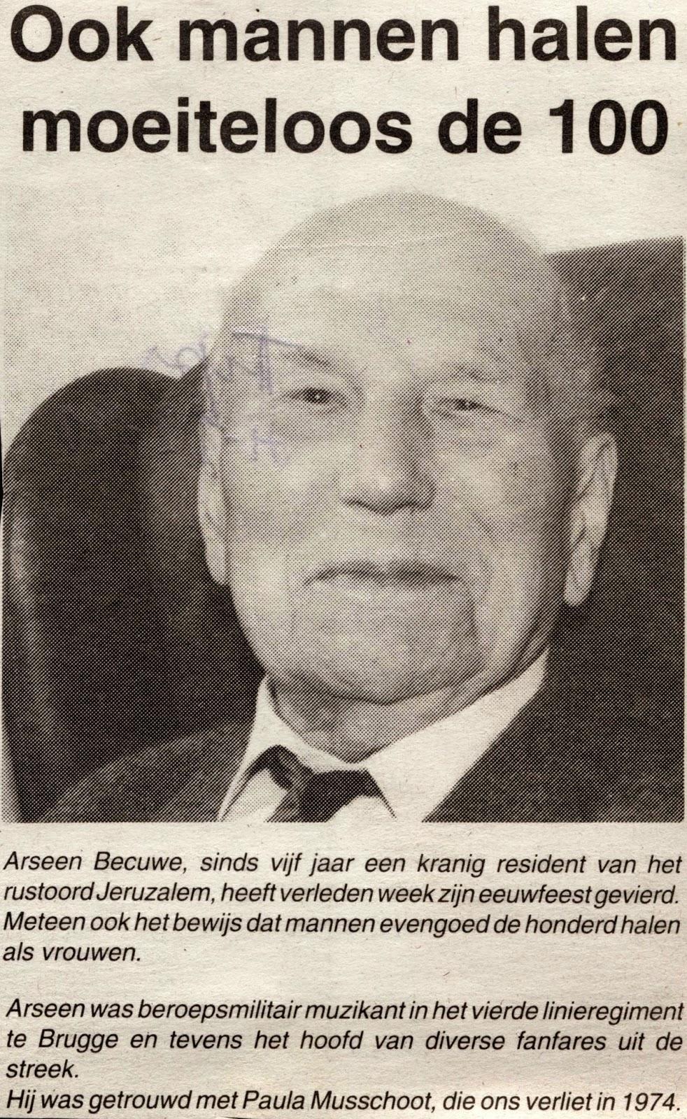 Arsène, die als honderdjarige gevierd zou worden en de eeuwcirkel binnentrad.