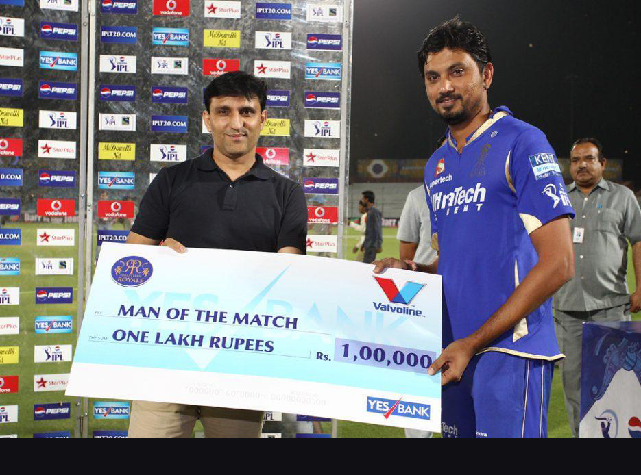 Siddharth-Trivedi-Man-of-the-Match-RR-vs-KKR-IPL-2013